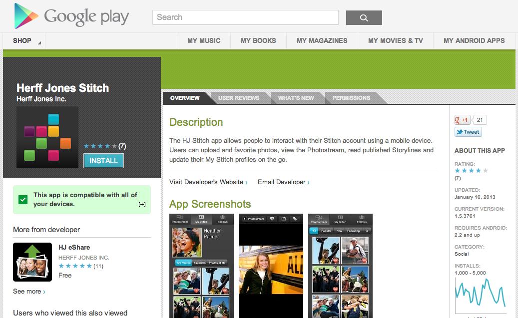Herff Jones Stitch in Google Play Store